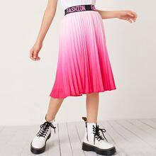 Rock mit Buchstaben Muster, Taillenband, Farbverlauf und Falten