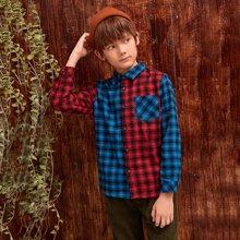 Shirt mit Taschen Flicken, Karo Muster und Farbblock