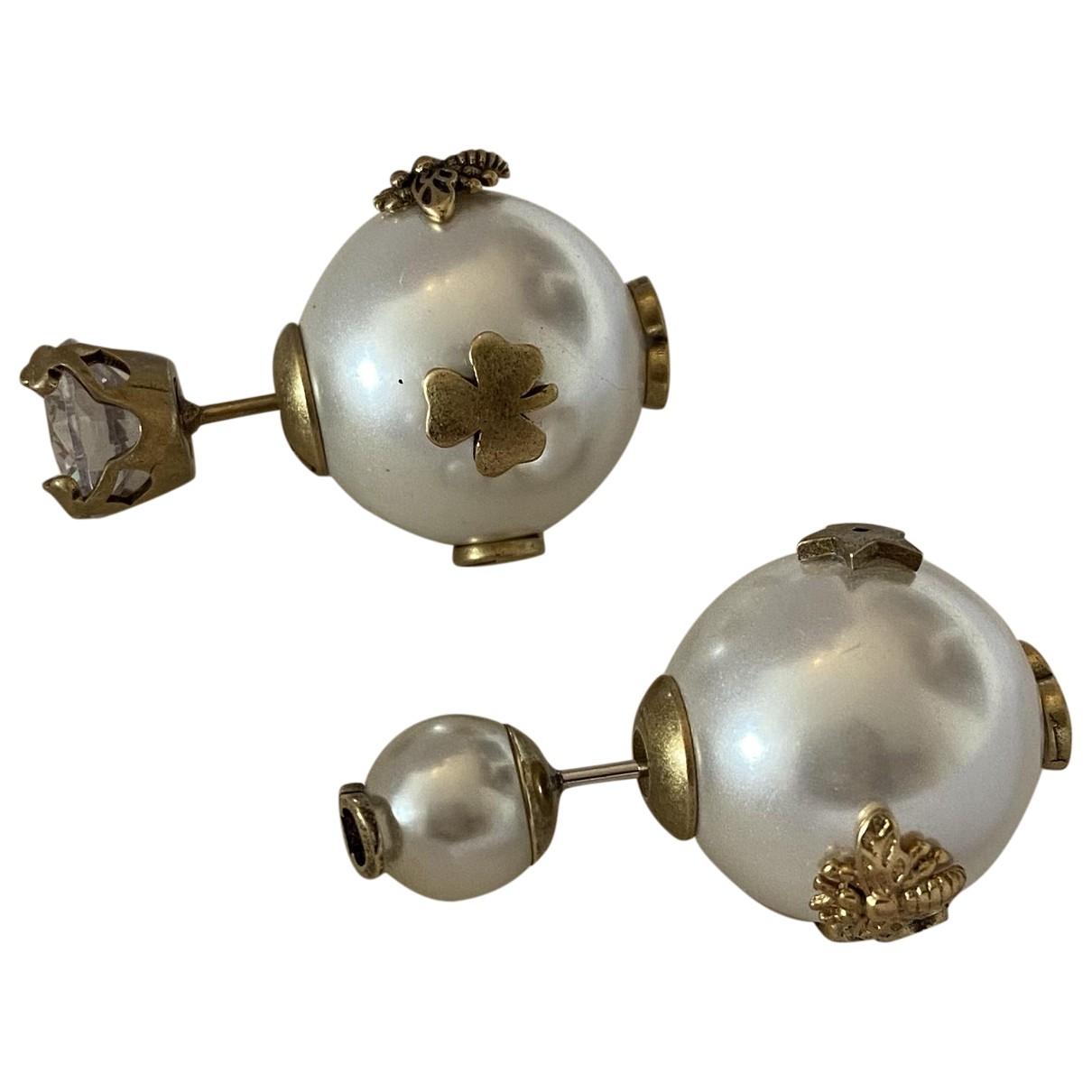 Dior - Boucles doreilles Tribal pour femme en perle - blanc