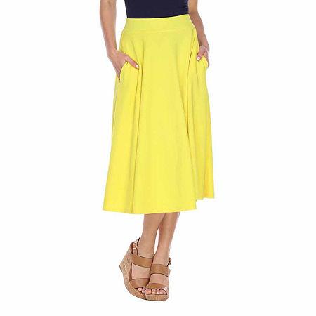 White Mark Tasmin Womens Mid Rise Stretch Midi Flared Skirt, X-large , Yellow