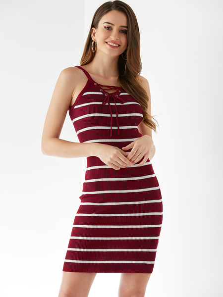 Yoins Burgundy Lace-up Design Stripe V-neck Sleeveless Dress