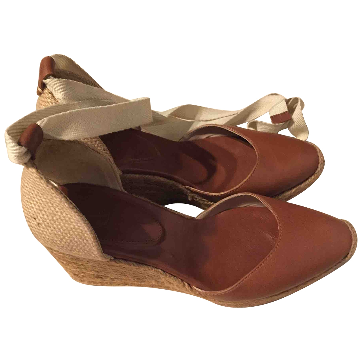 Massimo Dutti \N Brown Leather Espadrilles for Women 38 EU