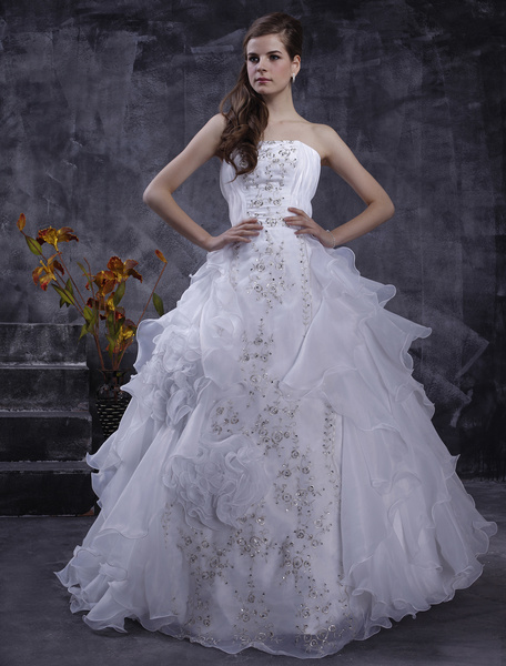 Milanoo White Wedding Dresses Strapless Organza Bridal Gown Ruffles Tiered Lace Embroidered Sequin Floor Length Wedding Gown