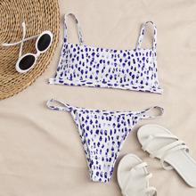 Allover Graphic Thong Bikini Swimsuit