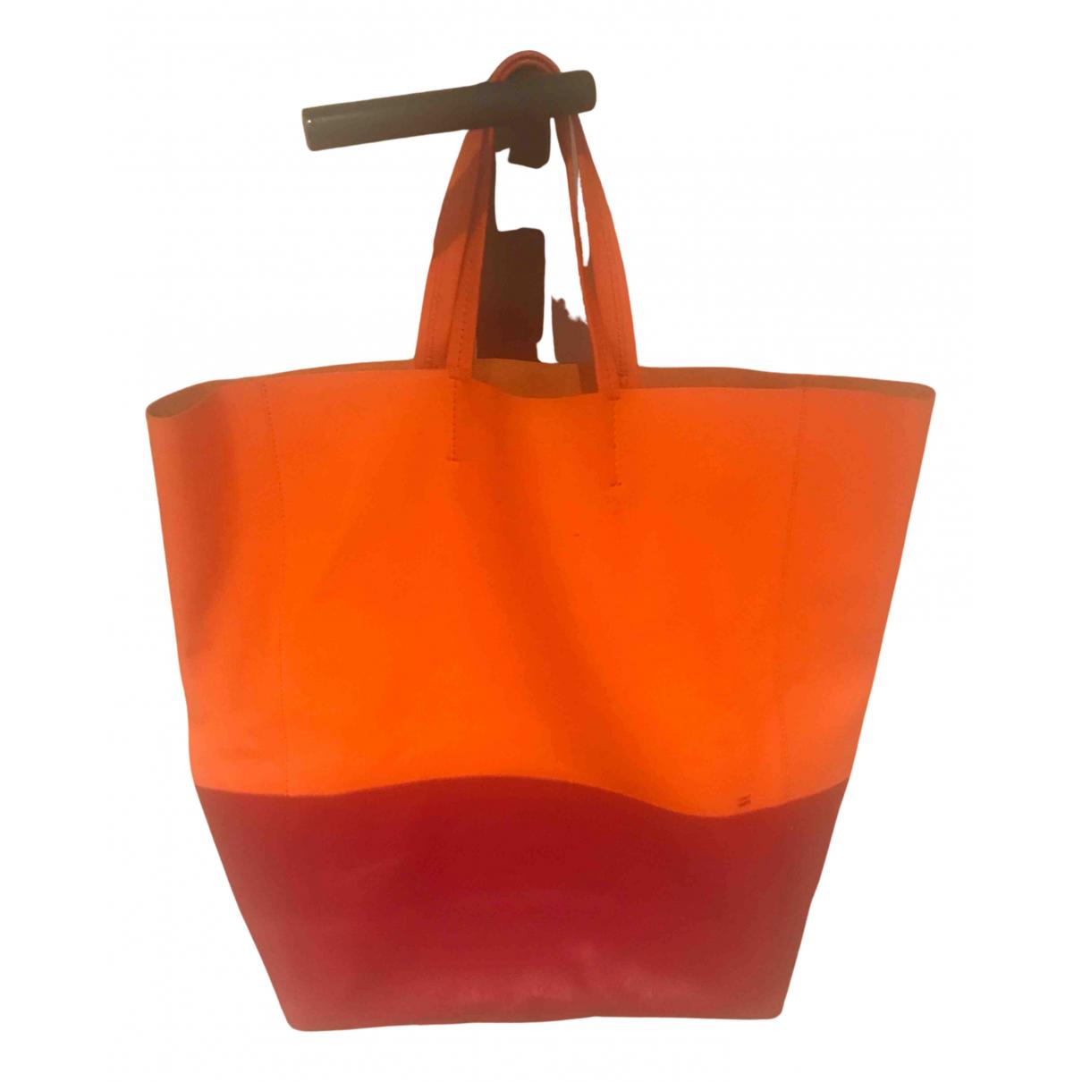 Celine Cabas Horizotal Orange Leather handbag for Women N