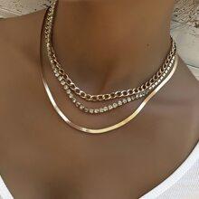 3 Stuecke Halskette mit Strass Dekor