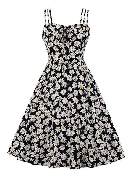 Milanoo Vestido vintage Correas sin mangas de los años 1950 Lazos con cuello Sin mangas anudadas Estampado floral Vestido de oscilacion retro Rockabil