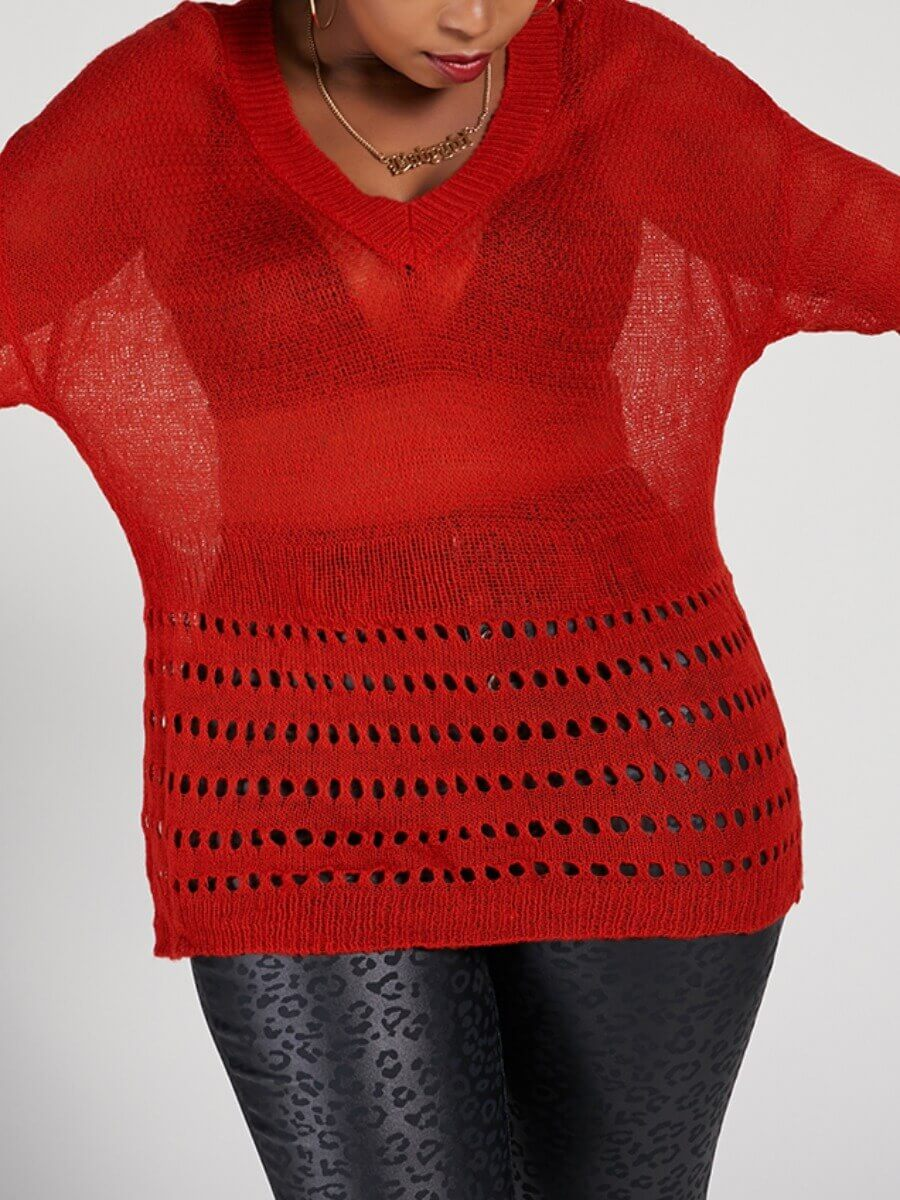 LW Lovely Sexy V Neck Hollow-out See-through Red Plus Size Sweater