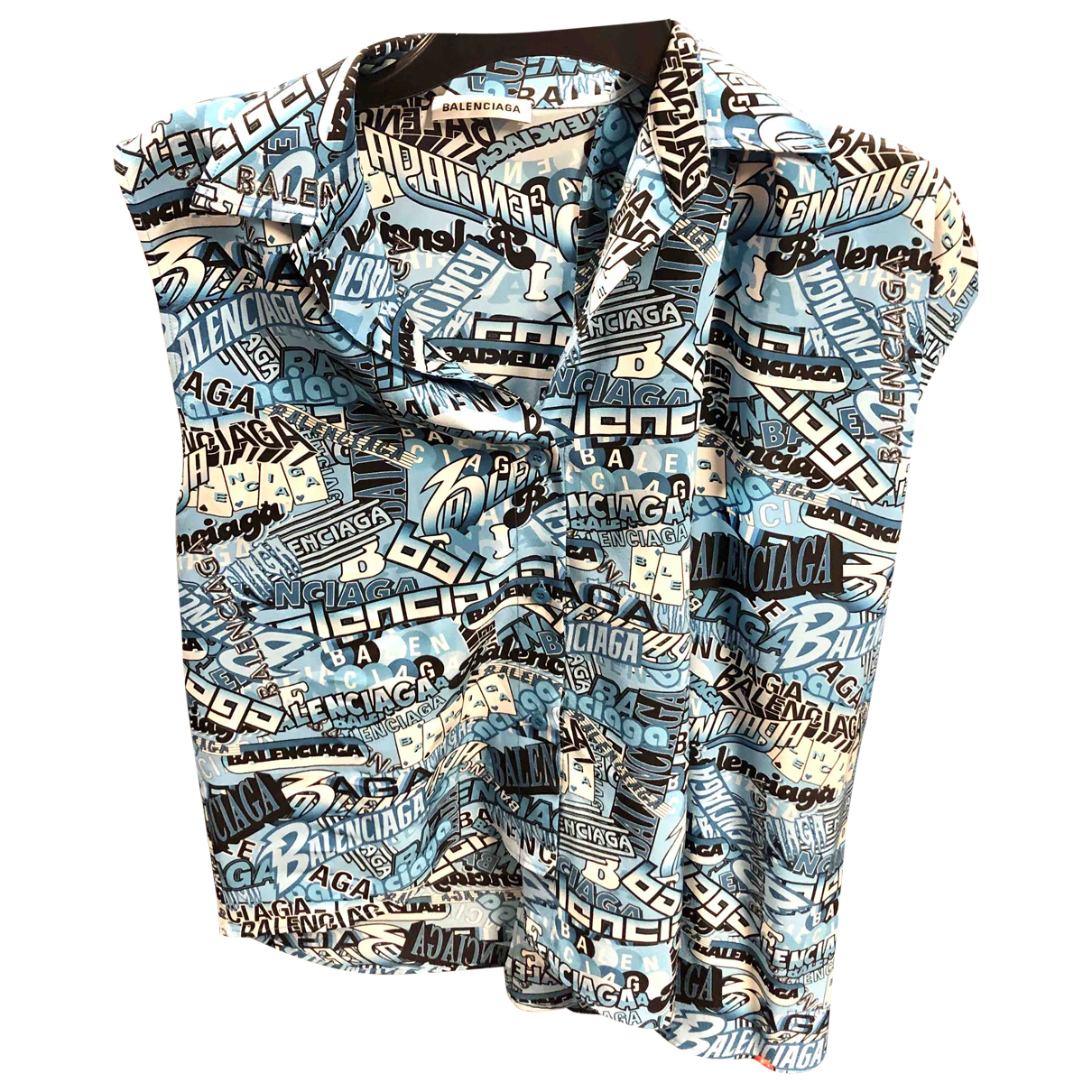 Balenciaga - Top   pour femme en soie - turquoise