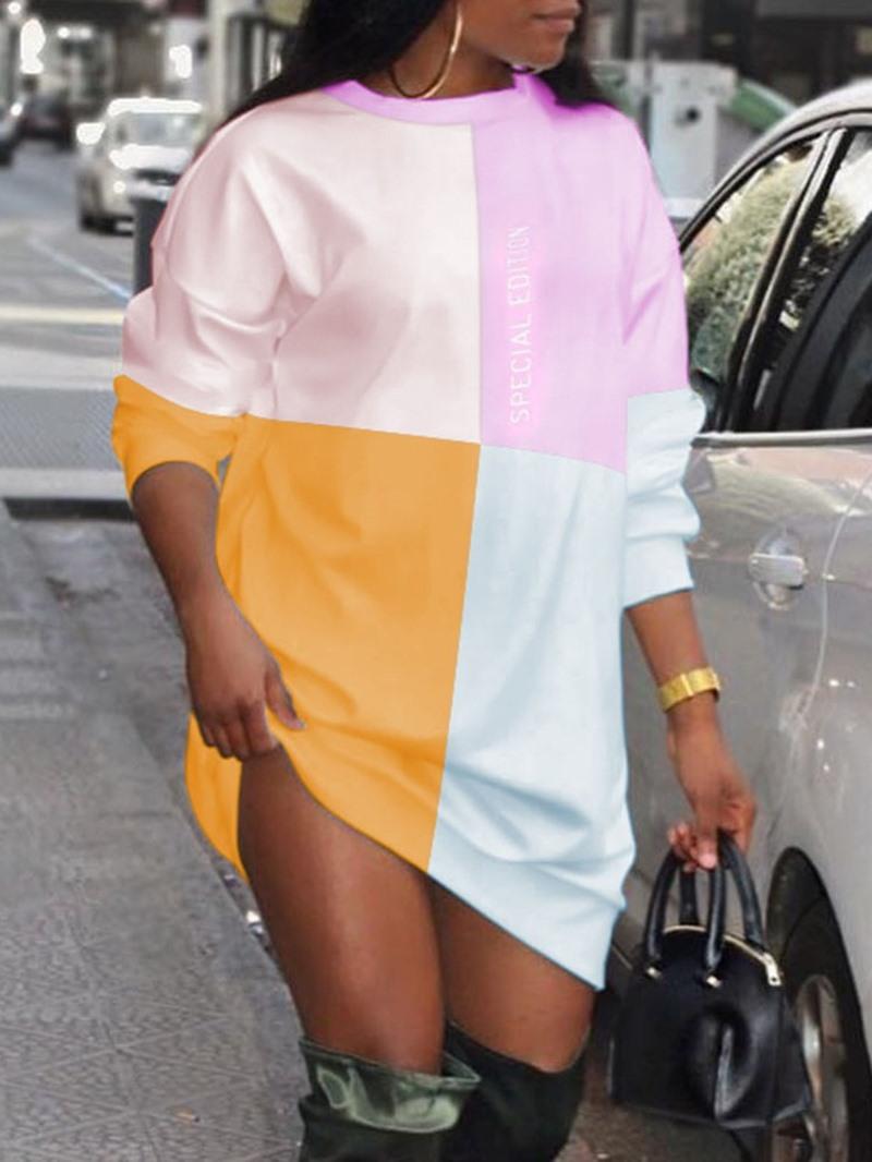Ericdress Print Long Sleeve Above Knee Casual Color Block Dress