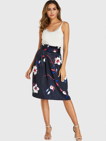 YOINS Royal Random Floral Print Belt Design Skirt