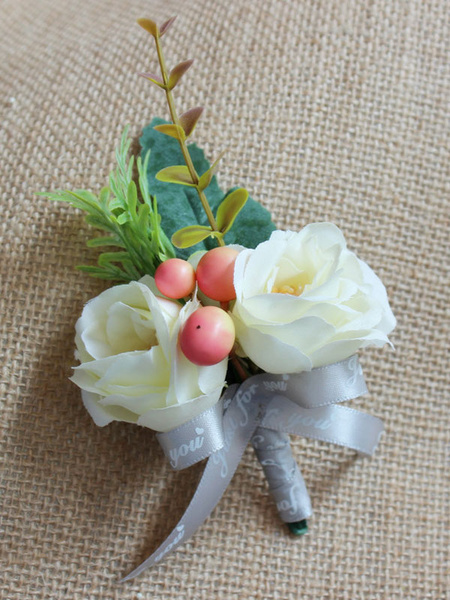 Milanoo Prom Flower Boutonniere White Letters Ribbon Synthetic Wedding Flowers