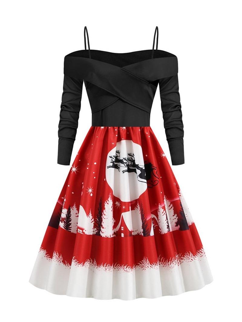 Ericdress Mid-Calf Long Sleeve Print Winter Mid Waist Dress