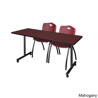 Regency Seating Kobe Burgundy 72-inch Mobile Training Table and 2 'M' Stack Chairs (Mahogany)