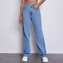 High Waisted Slant Pocket Straight Leg Jeans