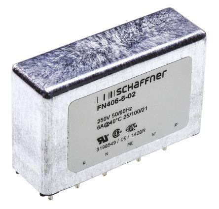 Schaffner , FN406 6A 250 V ac 400Hz, Through Hole RFI Filter, Pin