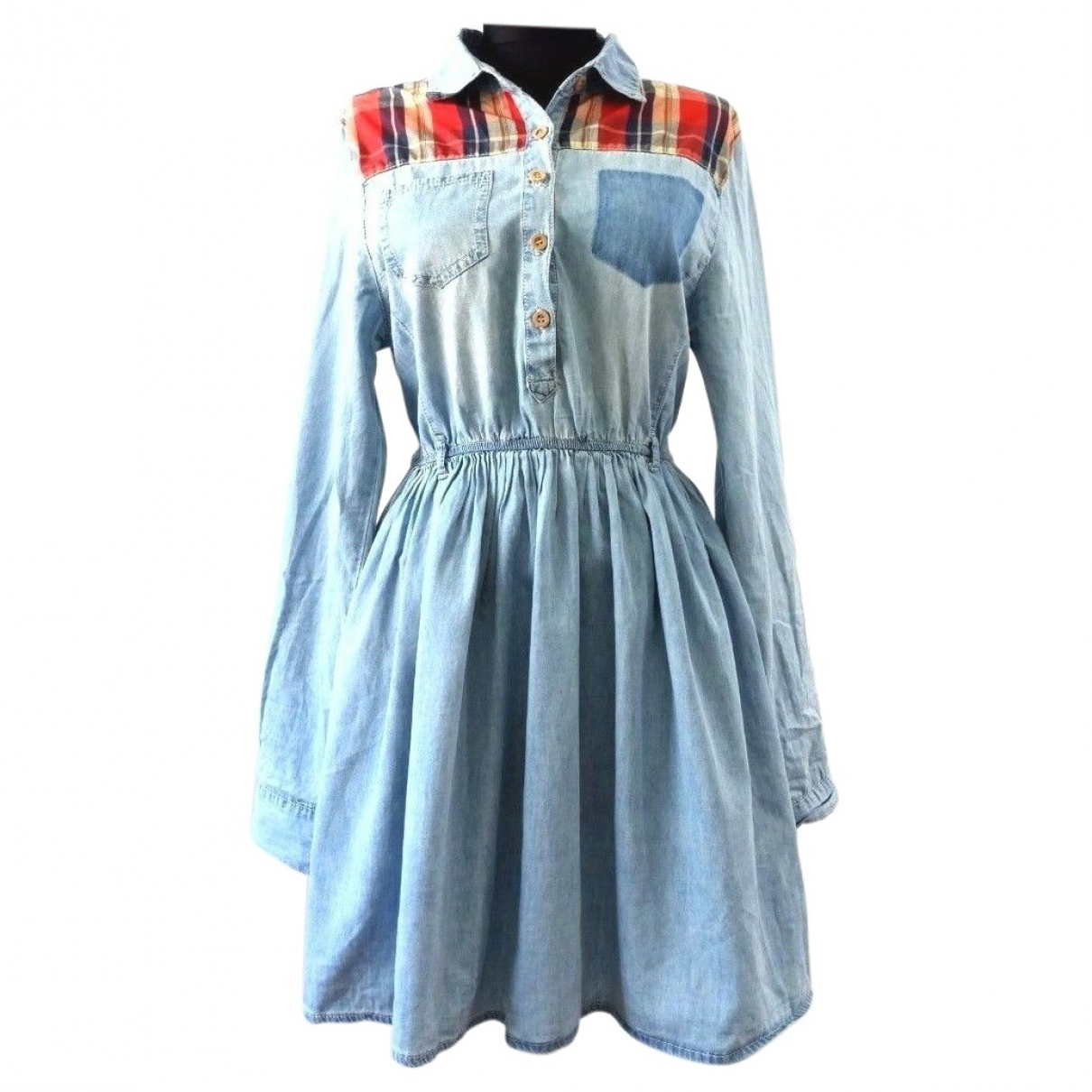 Non Signe / Unsigned \N Kleid in  Blau Baumwolle