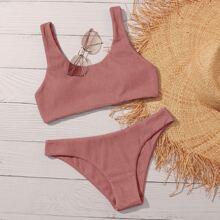 Plain Rib Bikini Swimsuit