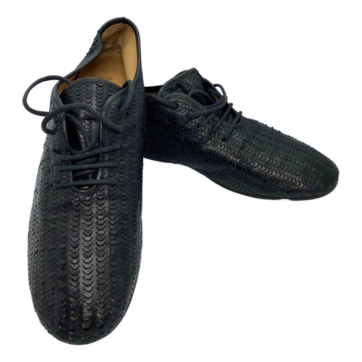 Mm6 \N Schnuerschuhe in  Schwarz Leder