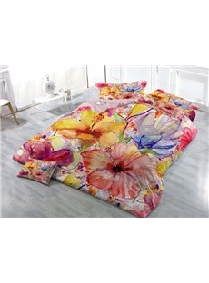 Pastoral Style Floral Wear-resistant Breathable High Quality 60s Cotton 4-Piece 3D Bedding Sets
