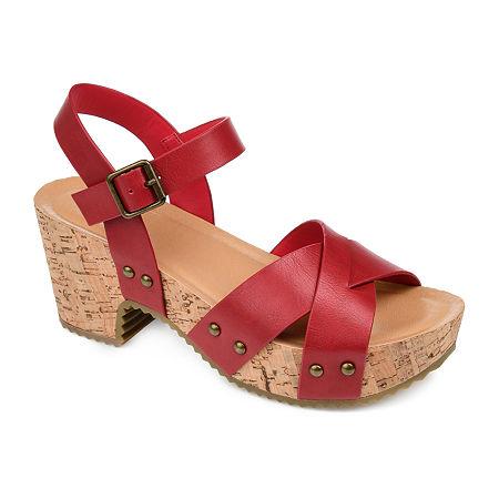 Journee Collection Womens Valentina Pumps Block Heel, 6 1/2 Medium, Red