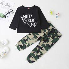 Baby Boy Slogan Graphic Tee & Camo Sweatpants