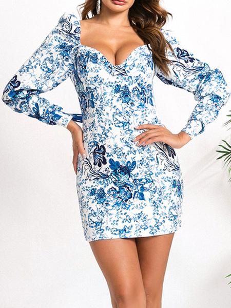 Milanoo Vestidos ajustados Impreso azul sin tirantes sin respaldo de manga larga vestido de lapiz