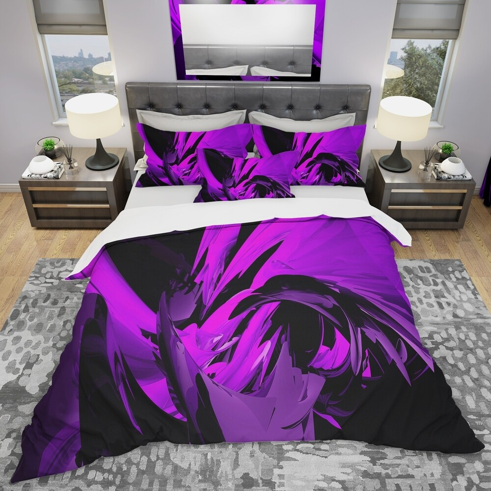 Designart 'Purple and Grey Mixer' Modern & Contemporary Bedding Set - Duvet Cover & Shams (Full/Queen Cover +2 Shams (comforter not included))