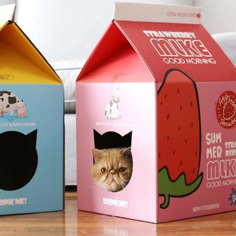 Pet Milk Box Carton House Cat & Cat Bed