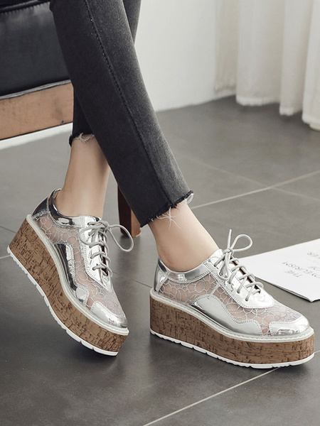 Milanoo White Oxfords Women Round Toe PU Leather Lace Up Flatform Casual Shoes