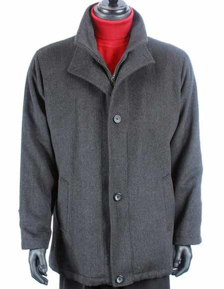 Wool Cashmere Solid Pattern Warm Dress Charcoal Gray Car Coat Jacket