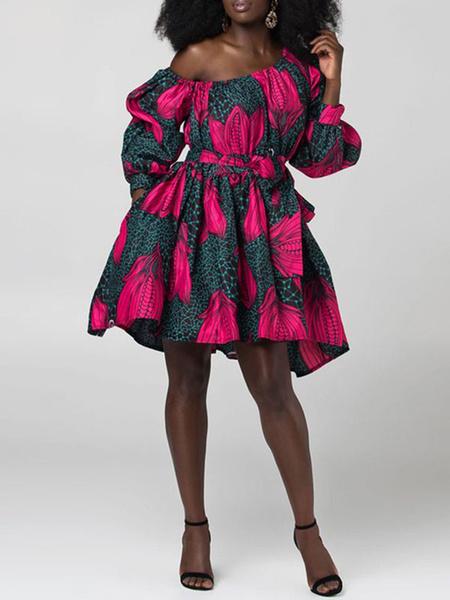 Milanoo Women Skater Dresses One-Shoulder Long Sleeves Lace Up Printed Dashiki Dress