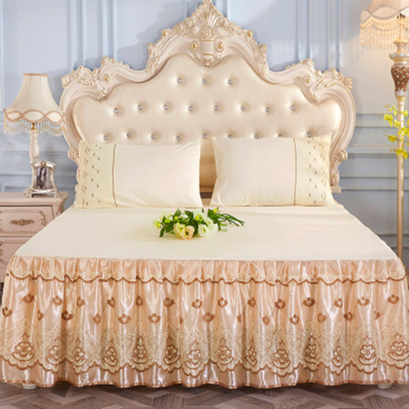 Solid Color Simple Style Bed Skirt Country Style Lace Bed Skirts