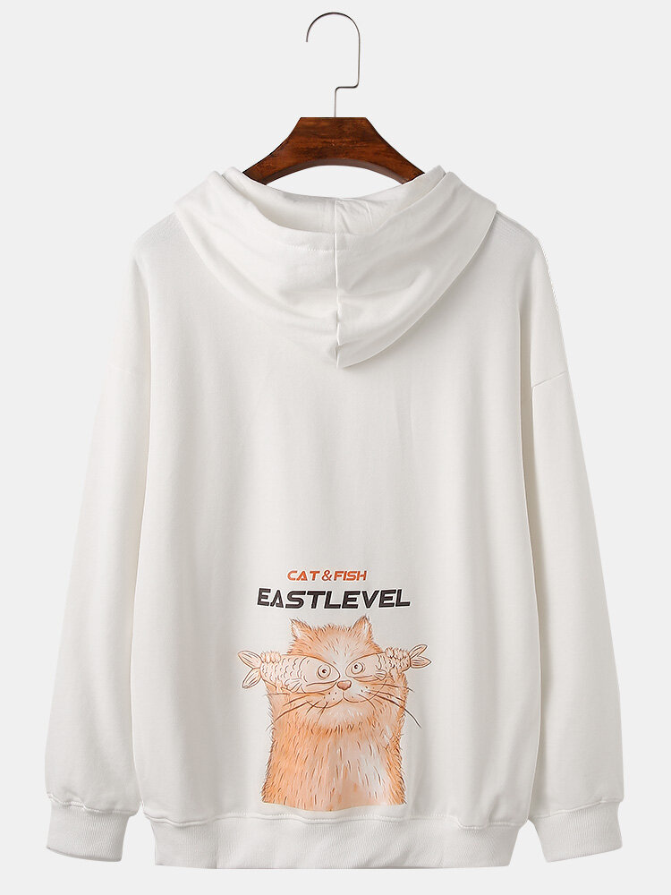 Mens Cartoon Back Print Plain Cotton Loose Pullover Hoodies