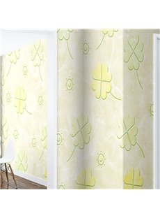 Yellow Clovers Prints with Green Outlines 3D Waterproof Wall Mural