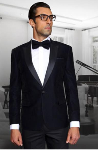 Men Navy 1 Button Velvet Fabric Discounted Blazer Sportcoat Jacket