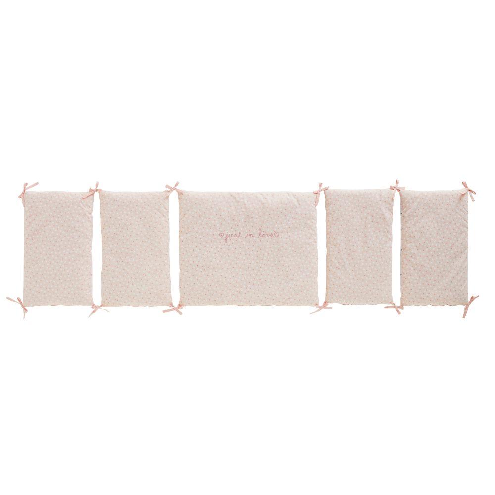 Babybett-Umrandung aus Baumwolle, weiss und rosa, gemustert