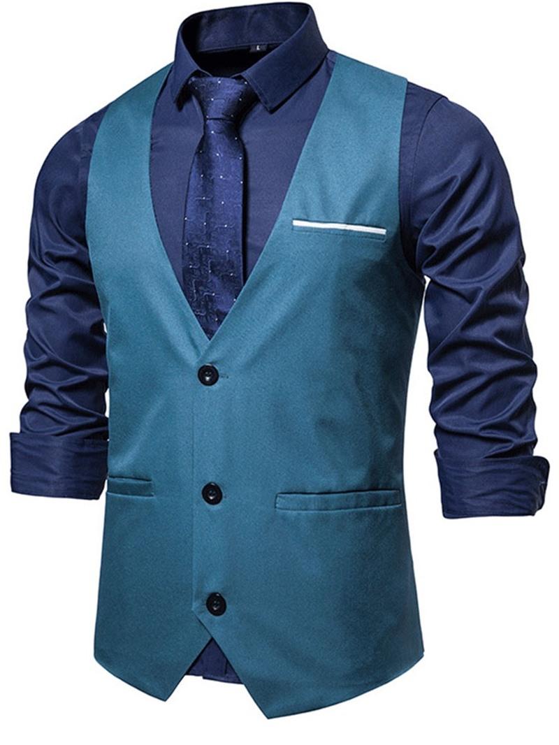 Ericdress Color Block V-Neck Fall OL Waistcoat