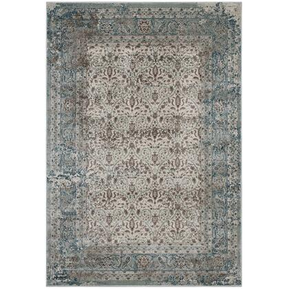 Dilys Collection R-1103A-810 Distressed Vintage Floral Lattice 8x10 Area Rug in Teal  Brown and Beige