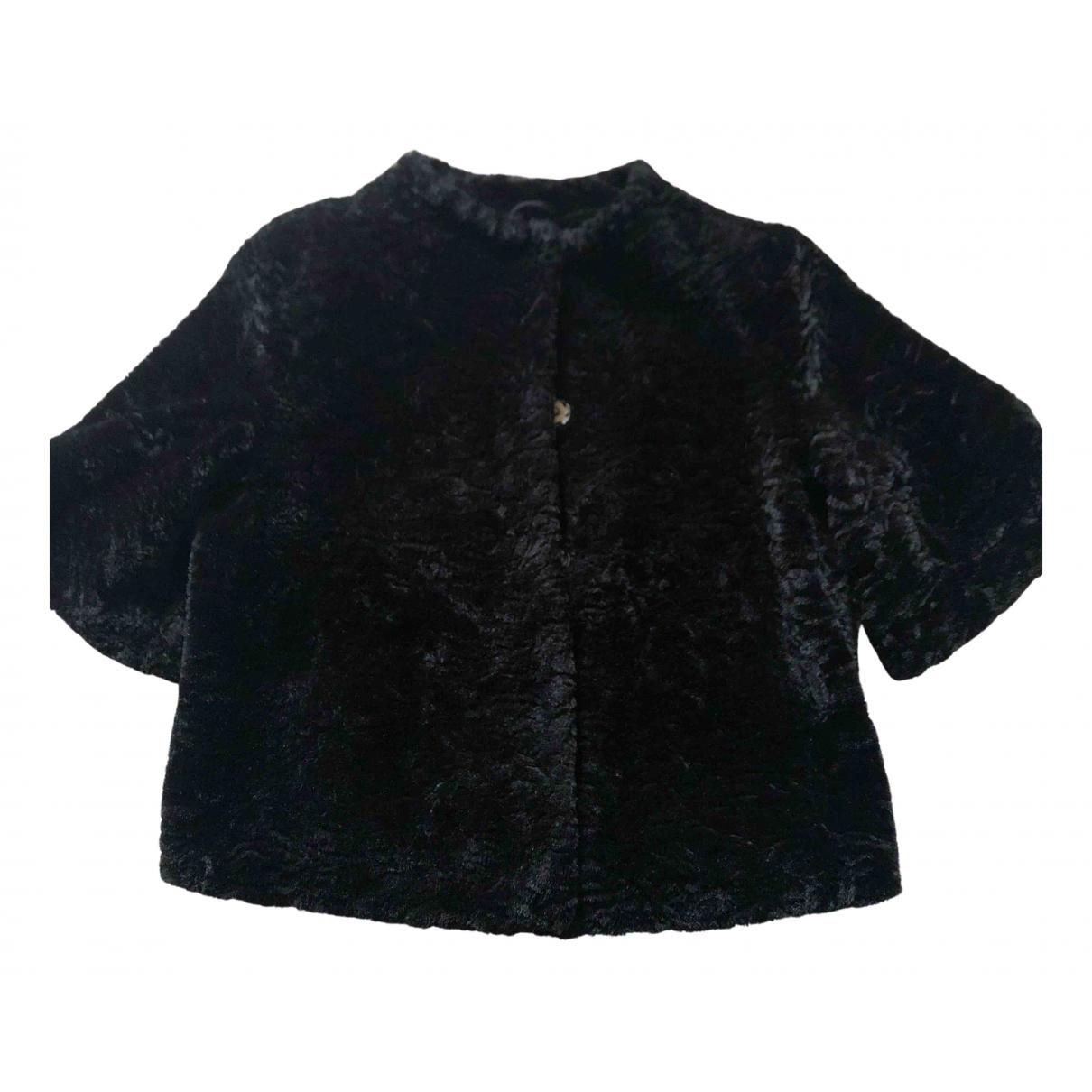 Pinko - Manteau   pour femme en fourrure synthetique - noir