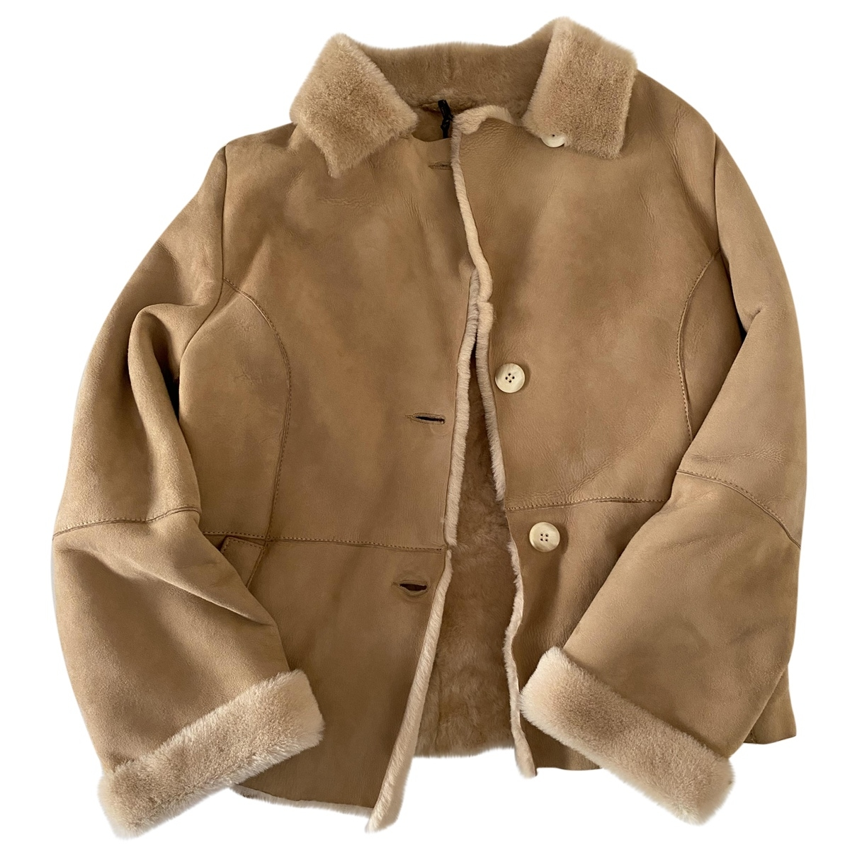 Non Signé / Unsigned \N Beige Mongolian Lamb Leather jacket for Women 38 IT