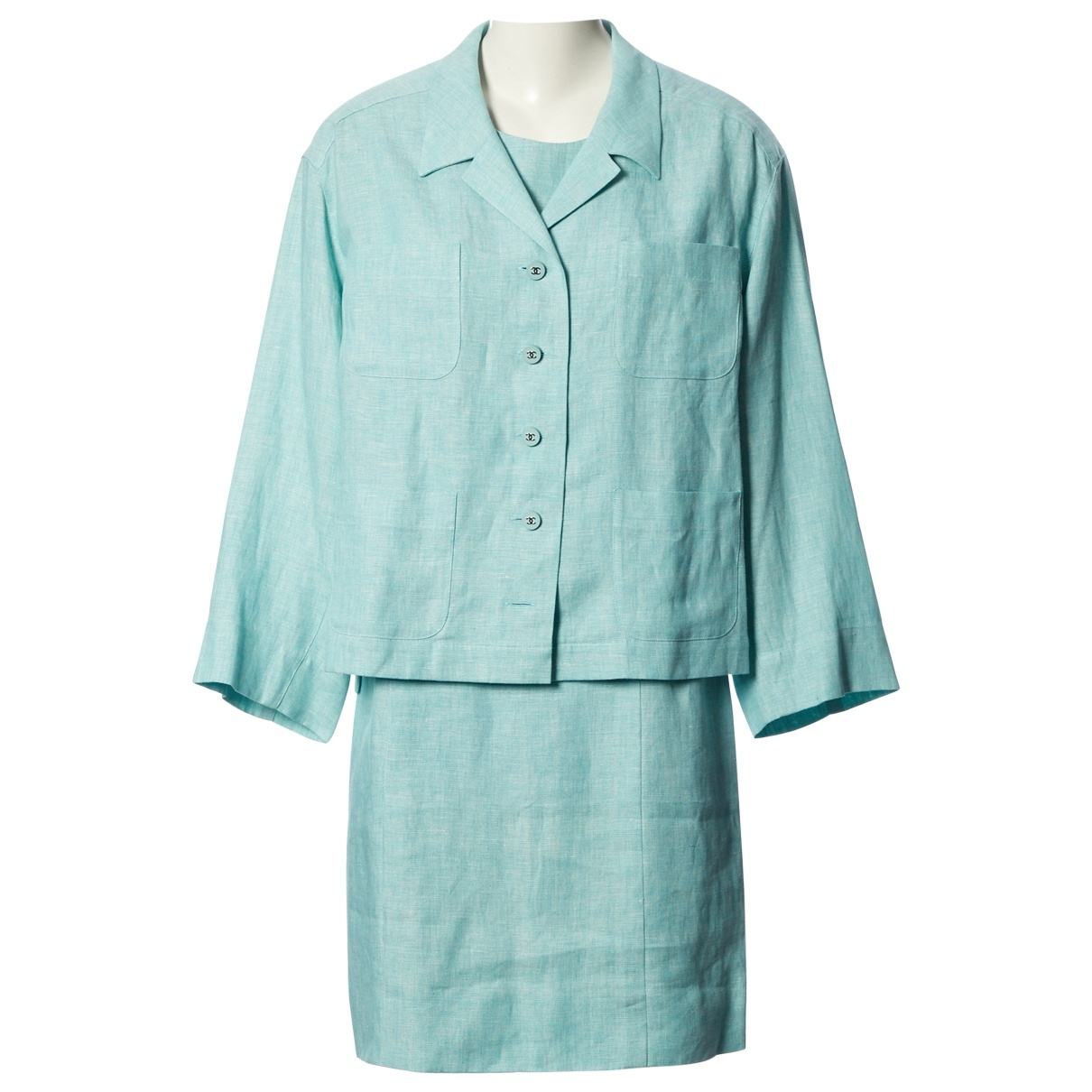 Chanel \N Turquoise Linen dress for Women 42 FR