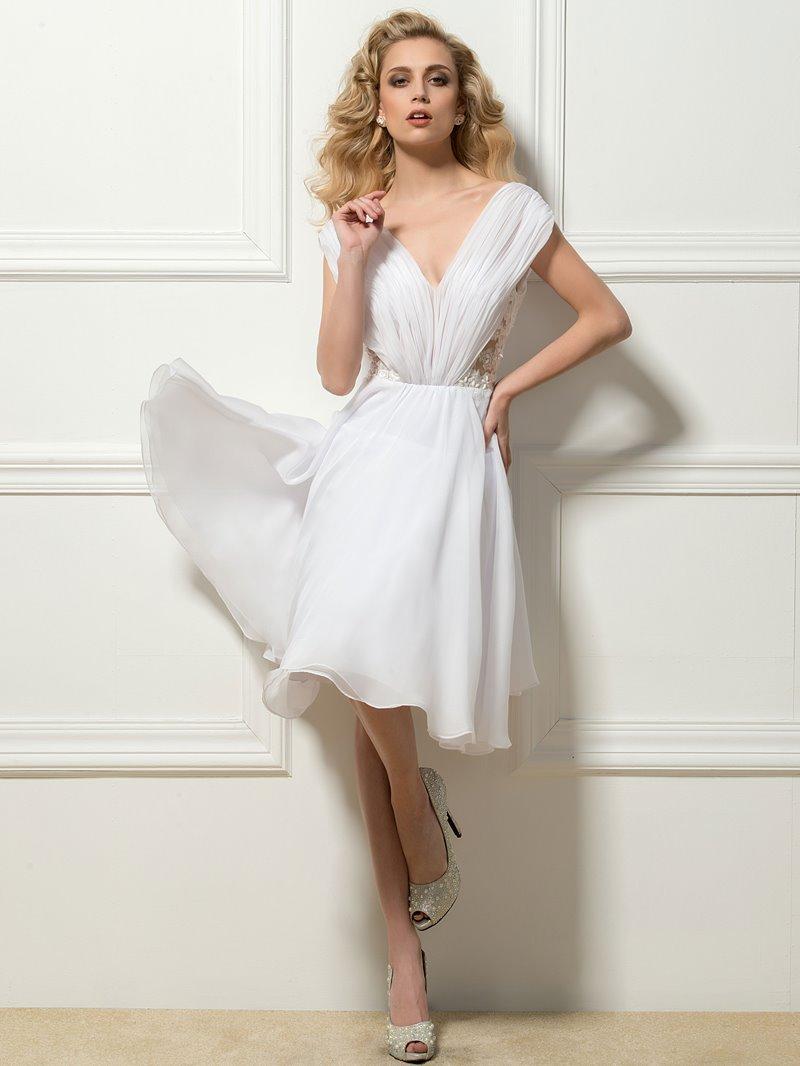 Ruched V-Neck Short Sleeve Cocktail Dress
