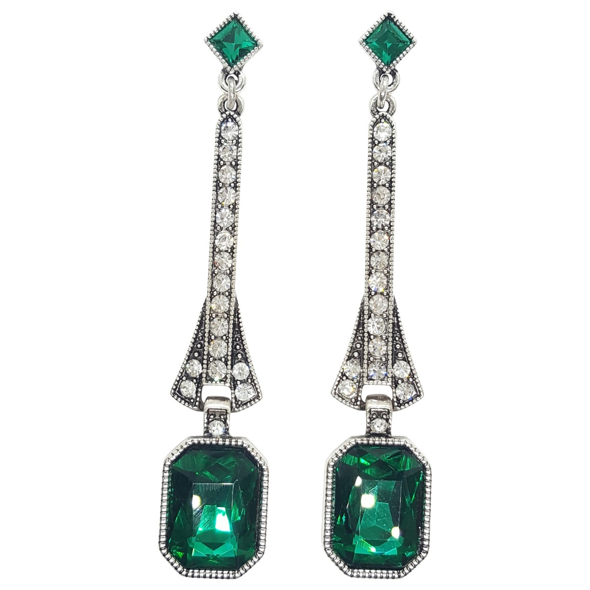 Non Signé / Unsigned Art Déco Silver Metal Earrings for Women \N