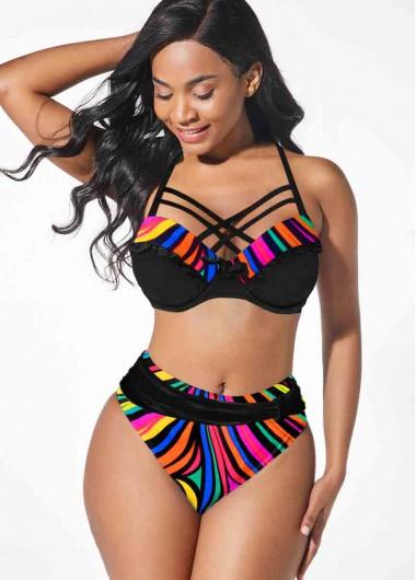 Sexy Bikinis Rainbow Stripe Spaghetti Strap Black Bikini Set - XS