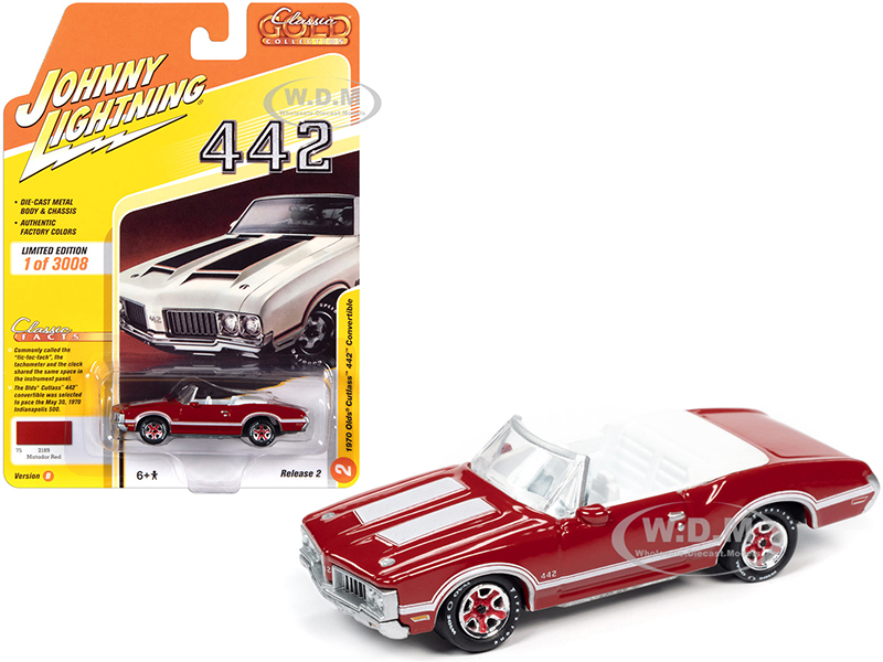 1970 Oldsmobile Cutlass 442 Convertible Matador Red with White Stripes and White Interior