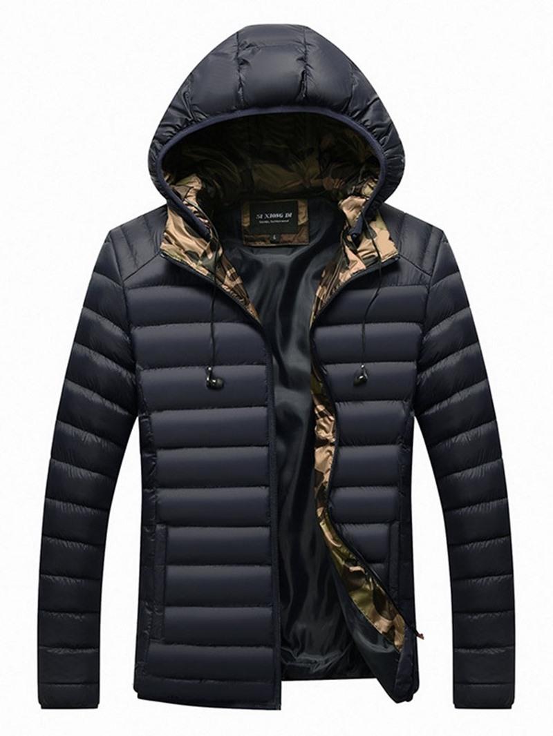 Ericdress Standard Plain Hooded European Zipper Men's Down Jacket