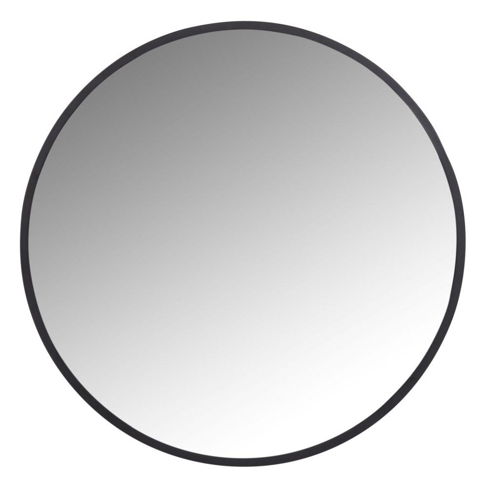 Runder Spiegel aus schwarzem Metall D.60