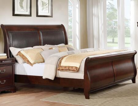 Louisville Collection LP400-K King Size Sleigh Bed with Sleigh Headboard and Footboard  Upholstered Headboard  Nailhead Trim  Molding Details  Solid
