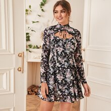 Vielfarbig Knoten  Gebluemt  Elegant Kleider